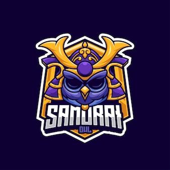 Logotipo da mascote da coruja samurai para a equipe de esportes