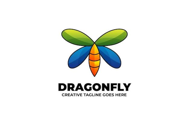 Logotipo da mascote da libélula em estilo aquarela
