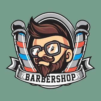 Logotipo da mascote de barbearia vintage