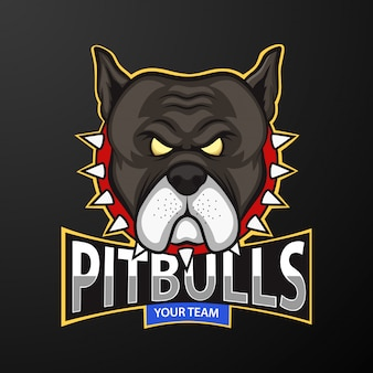 Logotipo da mascote de cabeça de pitbull