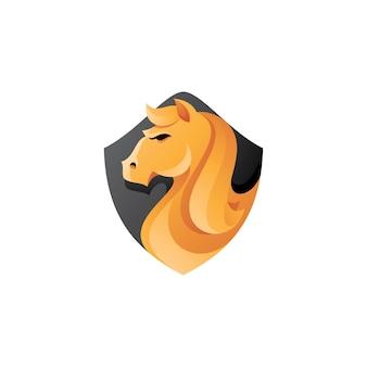 Logotipo da mascote de cabeça e escudo de cavalo