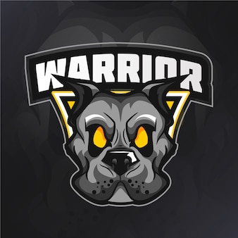 Logotipo da mascote de cachorro guerreiro