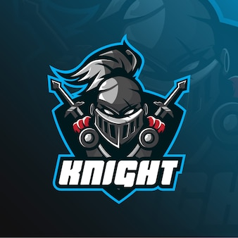 Logotipo da mascote de cavaleiro