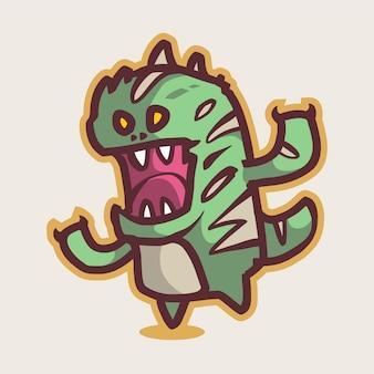 Logotipo da mascote de chibi dino