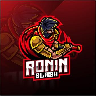 Logotipo da mascote de esporte ronin
