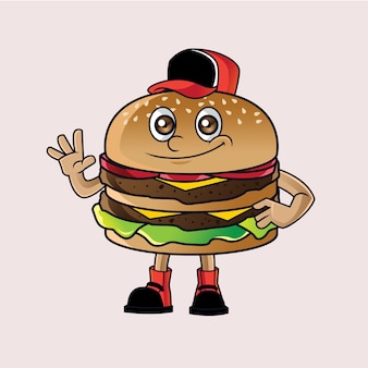 Logotipo da mascote de hambúrguer