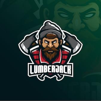 Logotipo da mascote de lenhador
