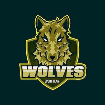 Logotipo da mascote de lobos