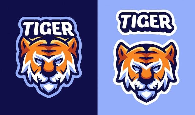 Logotipo da mascote de tigre de cabeça para esportes e logotipo de esports