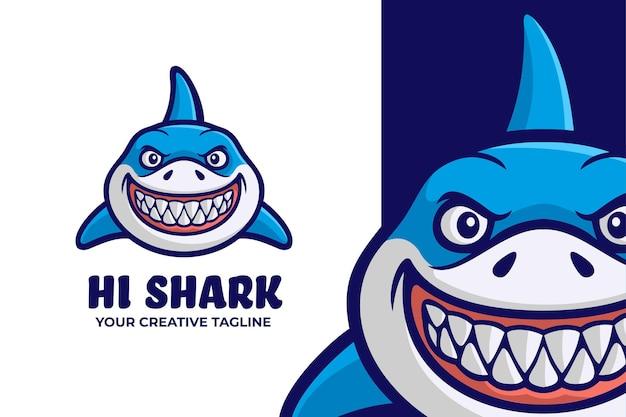 Logotipo da mascote do animal marinho tubarão selvagem