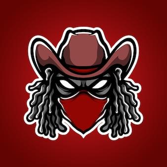 Logotipo da mascote do bandit e sport
