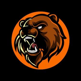 Logotipo da mascote do bear head e sport