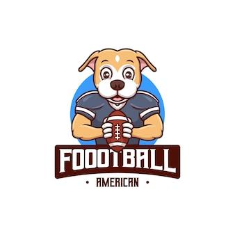 Logotipo da mascote do cão do futebol americano criativo dos desenhos animados