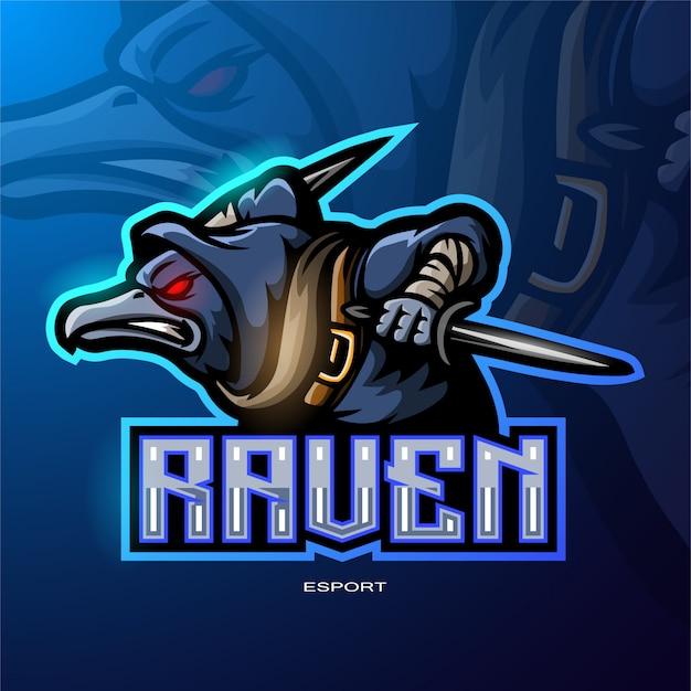 Logotipo da mascote do corvo para o logotipo de jogos de esporte eletrônico