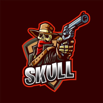 Logotipo da mascote do cowboy do crânio para esport e esportes