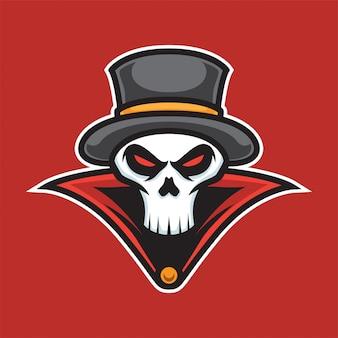 Logotipo da mascote do crânio do mágico