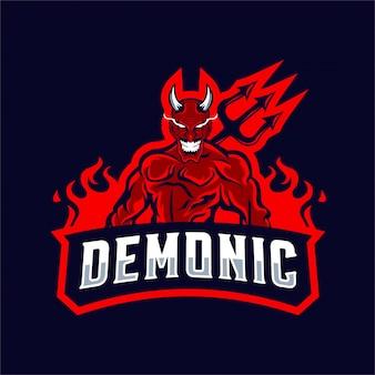 Logotipo da mascote do diabo vermelho