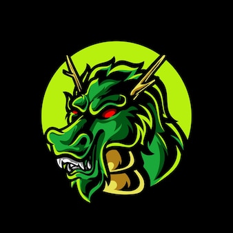 Logotipo da mascote do dragon head e sport