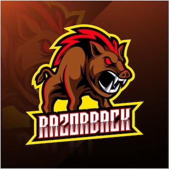 Logotipo da mascote do esporte razorback