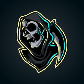 Logotipo da mascote do grim reaper e sport
