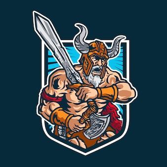Logotipo da mascote do guerreiro bárbaro