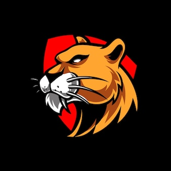 Logotipo da mascote do lion head e sport