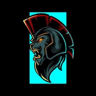 Logotipo da mascote do lion knight e sport