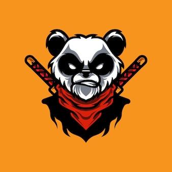Logotipo da mascote do panda ninja e sport