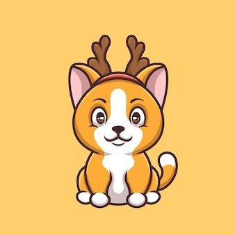 Logotipo da mascote do personagem de desenho animado cat deer christmas