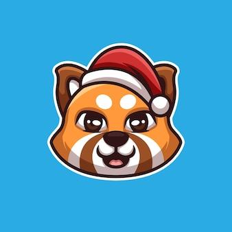 Logotipo da mascote do personagem de desenho animado do panda vermelho natal