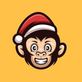 Logotipo da mascote do personagem dos desenhos animados criativos de natal do macaco