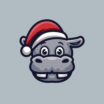 Logotipo da mascote do personagem fofo hipopótamo natal criativo