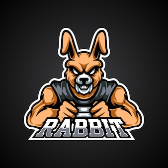 Logotipo da mascote do rabbit gamer e sport