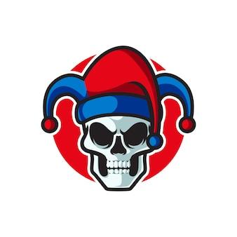 Logotipo da mascote do skull clown e sport