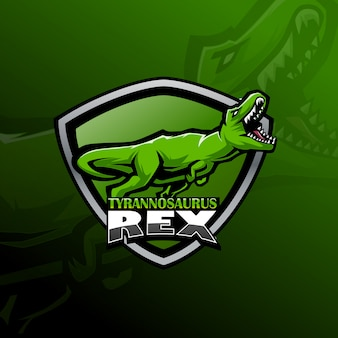 Logotipo da mascote do tiranossauro rex esport