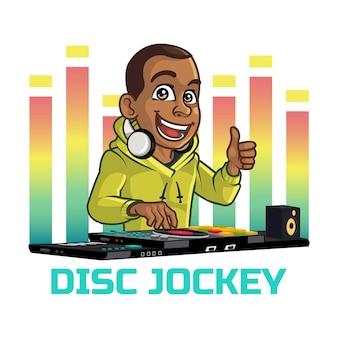 Logotipo da mascote dos desenhos animados do jovem disco-jóquei