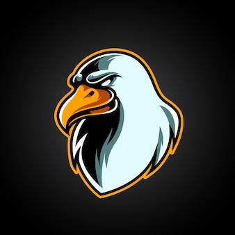 Logotipo da mascote eagle head e sport