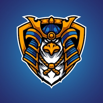 Logotipo da mascote eagle samurai e sport