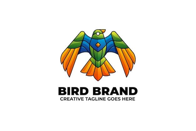 Logotipo da mascote eagle wing em estilo aquarela