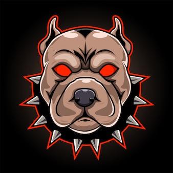 Logotipo da mascote esport cabeça pitbull