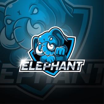 Logotipo da mascote esport de elefante