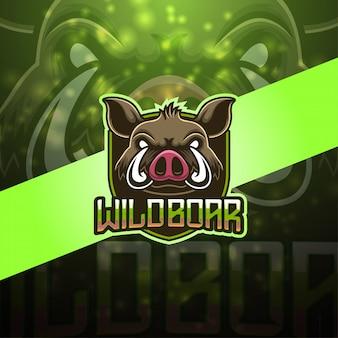 Logotipo da mascote esport javali