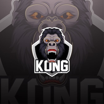 Logotipo da mascote esport king kong