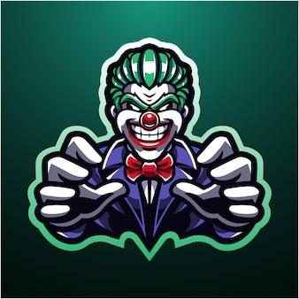 Logotipo da mascote esport palhaço