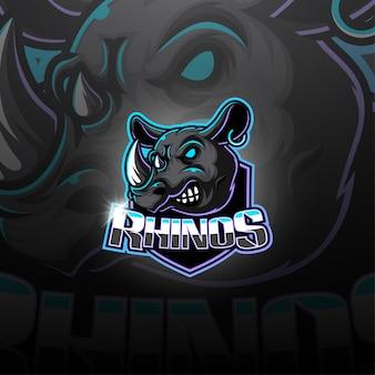 Logotipo da mascote esport rinoceronte