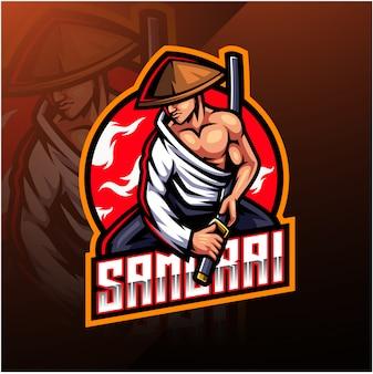 Logotipo da mascote esport samurai