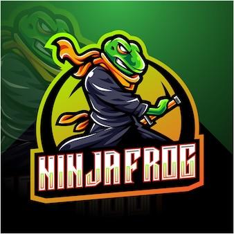 Logotipo da mascote esport sapo ninja