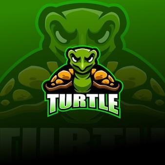 Logotipo da mascote esport tartaruga