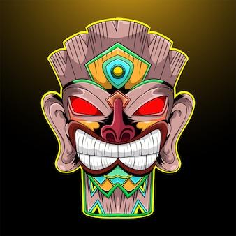Logotipo da mascote esport tiki mask