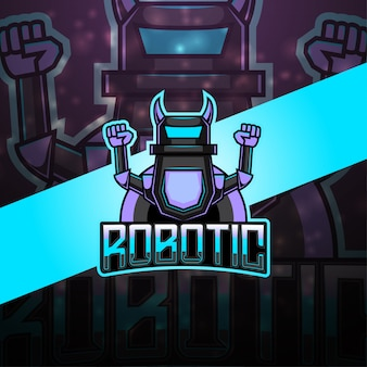 Logotipo da mascote esportiva robótica moderna